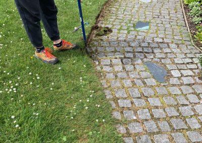 path edges being cut by volunteer Roddy